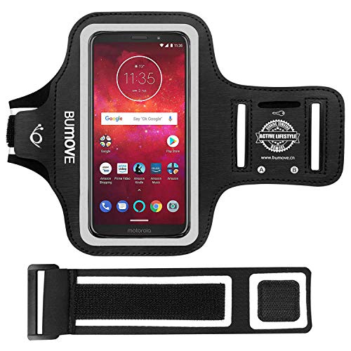 Moto Z3/Z3 Play Armband, BUMOVE Gym Running/Workouts Arm Band for Motorola Moto Z3/Z3 Play/Z2 Force/Z2 Play/Z Play Droid with Key/Card Holder (Black)