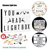 Hottly Led Cinema Light Box - A4 Cinematic Light Box with 345 Changeable Signs, Free Combination Letters, Emoji, Numbers and Christmas Card for Home and Wedding Decor (345 Cinema light box)