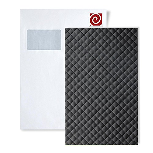 1 SAMPLE PIECE S-15658-SA WallFace ROMBO 12 NERO Leather Collection | Sample of decorative panel in DIN A4 size