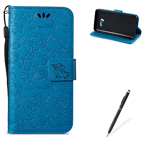 MAGQI For Samasung Galaxy J5 2017/J520 PU Leather Wallet Case with [Free 2 in 1 Stylus],Elegant Premium Flip Book Style Stand Function Shell and Unicorn Pattern Design Cover-Blue