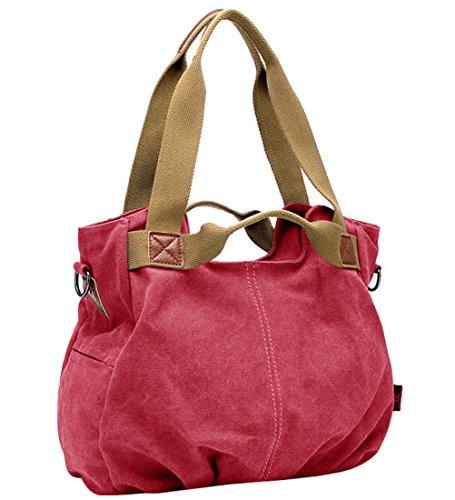 Sacs main Sacs Shopping Tout Fourre Bandoulière Femmes pour à Filles Toile Besace Shoppers Sac Rouge Voyage wgpqU
