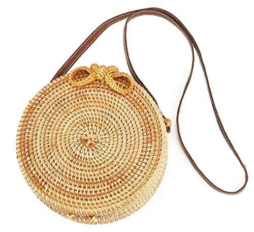 Handwoven Round Rattan Bag Shoulder Leather Straps Natural Chic Hand Gyryp ()