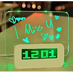 Digital Alarm Clock,AMZSTAR Luminous LED Fluorescent Message Board LCD Calendar with 4 Port Usband Battery Powered Night Light (Green)