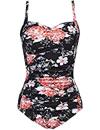 23dd1403363d2 Womens One Piece Swimsuits Elegant Inspired Vintage Pin up Monokinis Tummy  Control Swimwear Shirred Bathing Suits