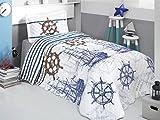 Bekata Marine, 100% Cotton Single/Twin Size Bedspread/Coverlet Set, Nautical Bedding Set, Anchors, Compass, Vintage Ship, Helms Themed, Blue White 2 PCS