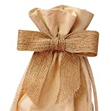 Natural Burlap Pre-Tied Bow, 7/8'', set of 12
