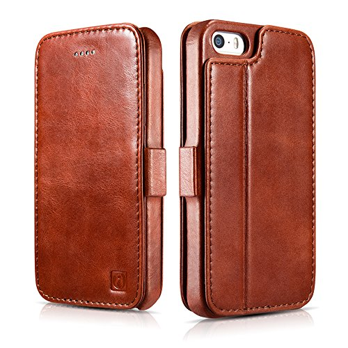 iPhone SE Leather Case, Icarercase Vintage Genuine Leather Side Open Wallet Cases with 2 Card-Slots, Folio Flip Style with Magnetic Closure with Stand Function for Apple iPhone SE / 5s / 5 (Brown)