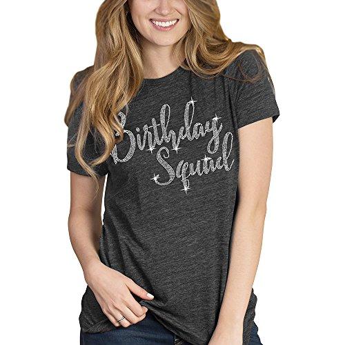Birthday Squad Rhinestone T-Shirt - Birthday Squad Shirts for Women - Medium Charcoal Tee
