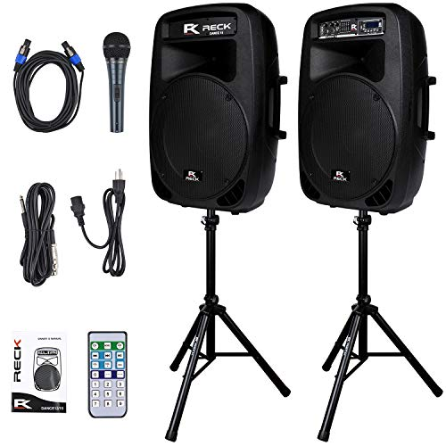 table 15-Inch 2000 Watt 2-Way Powered PA Speaker System Combo Set with Bluetooth/USB/SD Card Reader/FM Radio/Remote Control/LED Light ()