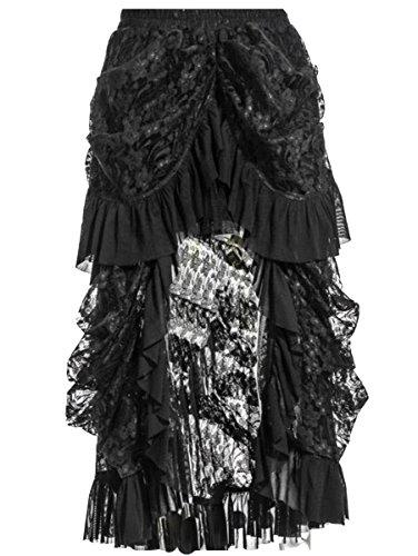 [COSWE Women's Black Lace Victoria Gothic Long Maxi Skirt for Party (XL fits 30.7