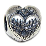 Pro Jewelry 925 Solid Sterling Silver Birds with Heart-shaped Wings Charm Bead