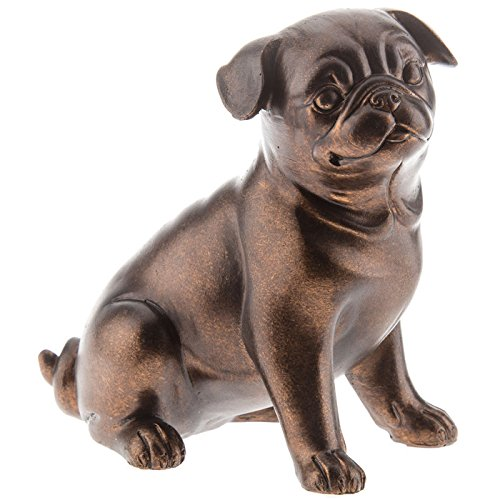 Copper Brown Pug Dog Resin Figurine Table Top Piece (Cemetery Statue)