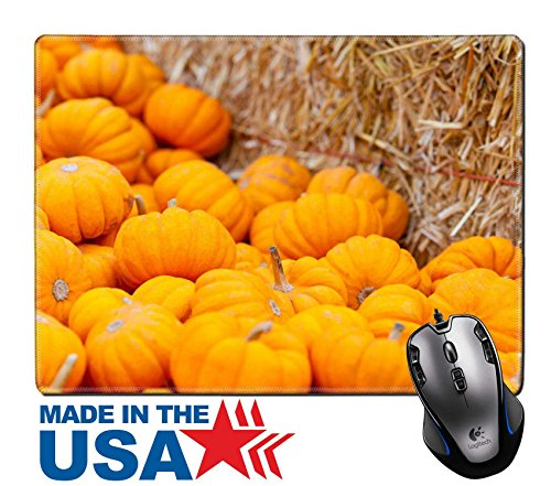 """MSD Natural Rubber Mouse Pad/Mat with Stitched Edges 9.8"""" x 7.9"""" IMAGE ID 32794148 close up of small orange pumpkins at fall festival"""