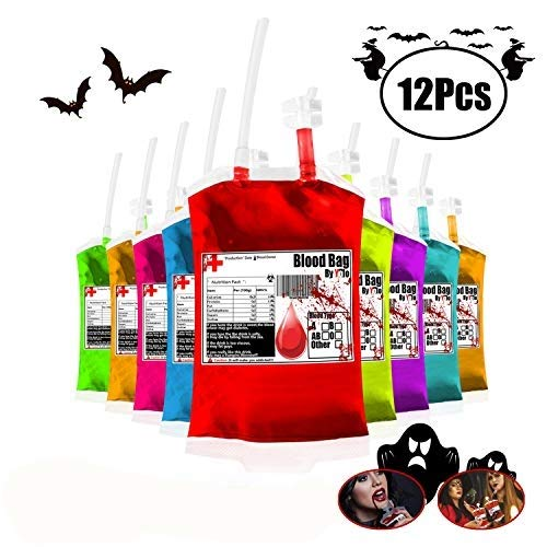 Celebrity Juice Halloween Guests (Yol0 Blood Bag Container for Drinks 11.5oz 12Set Halloween Theme Party Favors 15's Efficient Filling with Funnel Reusable Aseptic)