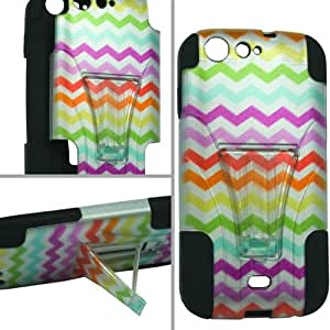 ToPerk T-Stand Dual Layer Armor Case With Kick Stand For BLU Life One / L120 (Include a Cystore Stylus Pen) - Graphic Rainbow Chevron