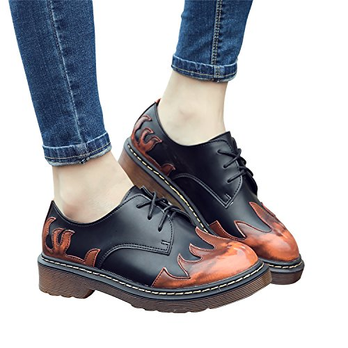 Toe Lady's Lace Red up Smilun Round Flames Shoes Classic 8HPwq