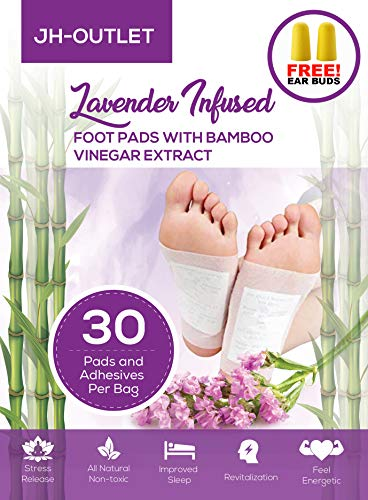 (30 Premium Lavender Infused Foot Pads with Bamboo Vinegar | Improve Your Sleep! | Stress Relief | 100% Organic and FDA Certified Foot Patches)