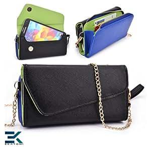 Samsung Galaxy Core Plus Case   PU Leather Wallet Purse Universal Phone Wristlet - BLACK, BLUE & GREEN. Bonus Ekatomi Screen Cleaner*