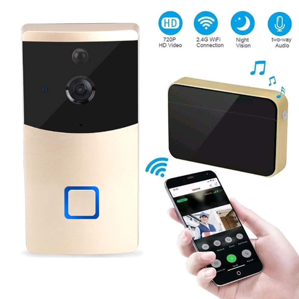 gold Mengen88 Video Doorbell System,166°Visual HD Night Vision 720P IR Wifi Video Intercom Wireless Remote Control Door Bell Alarm for iOS and Android Smart Phone,gold