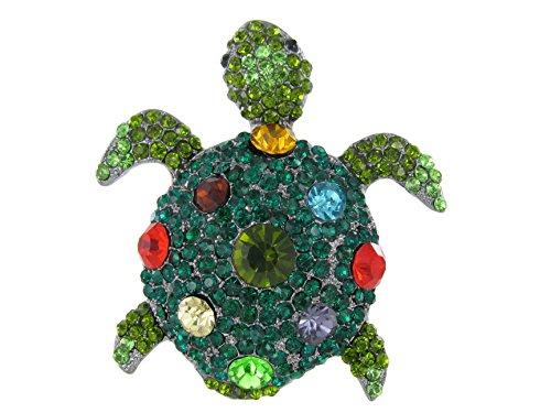 Jeweled Sea Turtle - Large Jeweled Sea Turtle Magnet with Multicolored Crystal