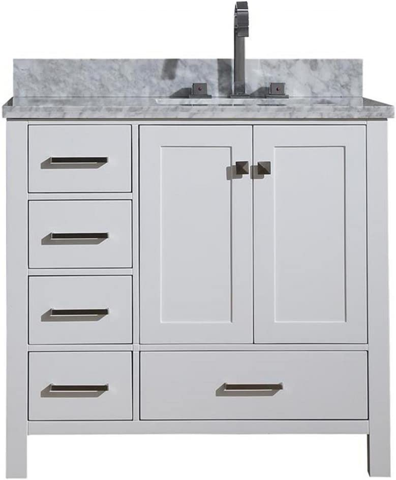DKB Beckford Series 37 Bathroom Vanity Cabinet in White Single Right Offset Rectangle Sink Carrara White Marble Countertop 2 Soft Closing Doors 5 Full Extension Dovetail Drawers No Mirror