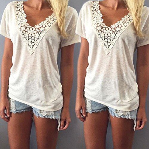 GONKOMA Women Lace V-Neck Short Sleeve T-Shirt Blouse Casual Tank Tops White