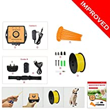 Electric Pet Fence System by PetsN'all - Wireless, In-Ground Radio Fence with 2,500 Sq. Metre Coverage - Invisible Underground Dog Fence with Boundary Marks and Rechargeable Receiver Collar