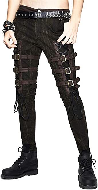 Devil Fashion Steampunk Men Slim Pencil Pants Punk Motorcycle Straps Brown Trousers