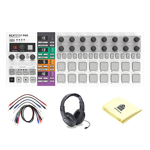 Arturia BeatStep Pro Controller & Sequencer with Patch Cables, Open-Ear Headphones and Zorro Sounds Instrument Cloth by Arturia