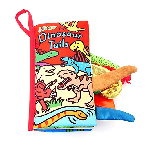 YOUDirect Soft Cloth Books - Soft Baby Funny Animal Tails Cloth Book, Early Learning Education Toddler Books Toy, Best Gift for Kids Babies (Dinosaur Tails)
