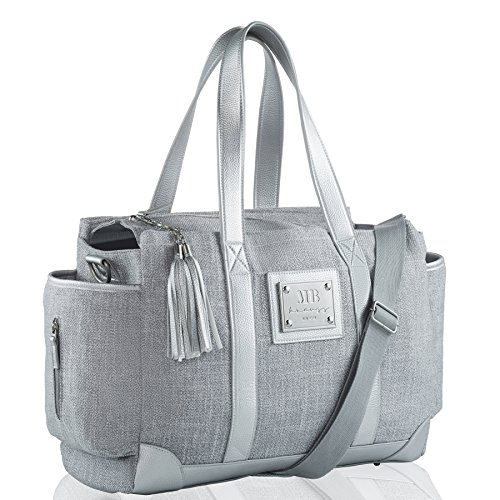 MB Krauss Fashion Diaper Bag- Large Women's Diapering Tote with Multiple Pockets, Luxurious Design – for Every Day Use (Classic Tote) (Grey)