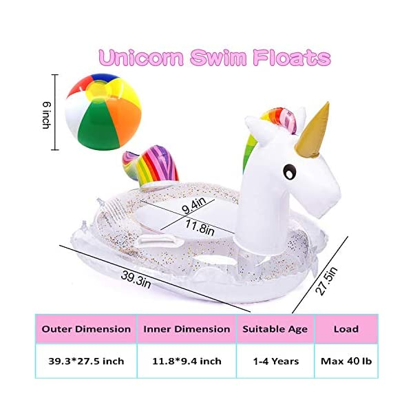 Unicorn Baby Swimming Pool Float with Canopy, Glitters Seat & Safety Handle, 2021 Summer baby floats for pool… 4