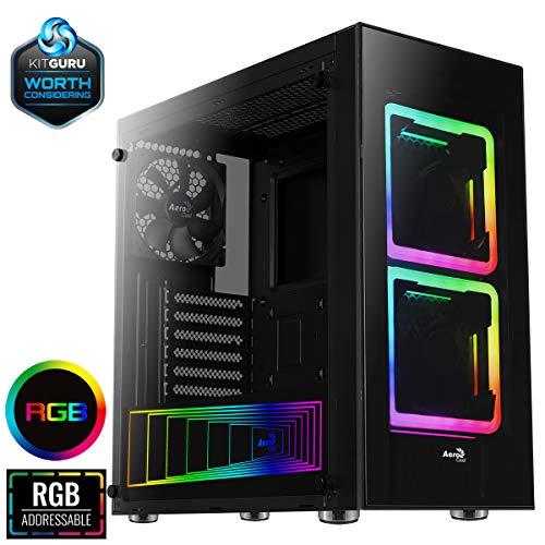 (Aerocool TOR - Computer Box, ATX, Tempered Glass, 2 RGB Fans 14 cm)