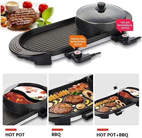 Gril électrique avec Pot Chaud 2 en 1 Barbecue Coréen Intérieur et Pot Shabu Shabu avec Diviseur 2200w Double Contrôle de Température Séparé, Capacité pour 2-12 Personnes