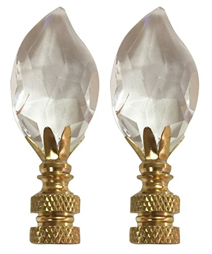 Finial Lamp Leaf - Royal Designs CCF2014-PB-2 Leaf Cut Clear K9 Crystal Finial for Lamp Shade with Polished Brass Base Set of 2, 2 Piece
