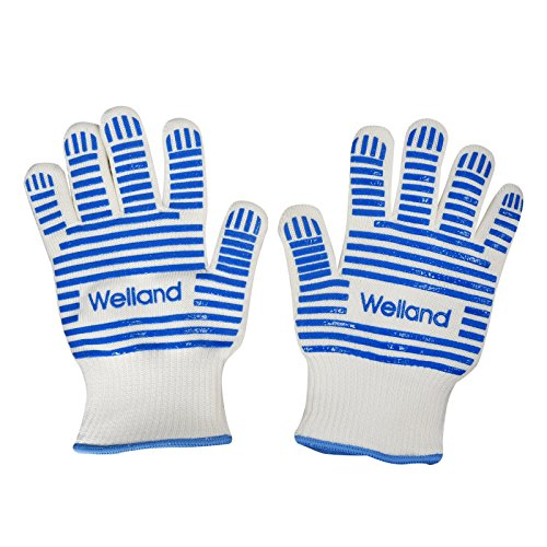 Oven Hot Mitt (Grilling/ Cooking/ Baking Gloves Heat Resistant up to 932F Blue Silicone Oven Mitts Replacement)