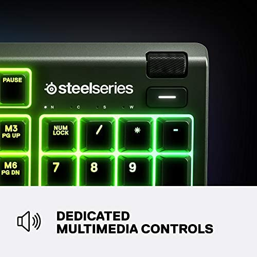 SteelSeries Apex Teclado mecánico para Juegos - Pantalla Inteligente OLED - Pasaje USB y Controles Multimedia - Lineal y silencioso, Whisper Silencioso – Tacto y Silencioso, Apex 3 6