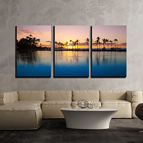 """Wall26 - 3 Piece Canvas Wall Art - Beautiful Sunset on Hawaiian Beach, Big Island - Modern Home Decor Stretched and Framed Ready to Hang - 16\""""x24\""""x3 Panels"""
