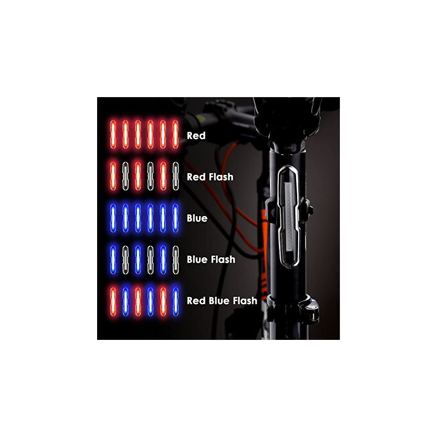 Canway Bike Tail Light, Ultra Bright Bike Light USB Rechargeable, LED Bicycle Rear Light, Waterproof Helmet Light, 5 Light Mode Headlights with Red & Blue for Cycling Safety Flashlight Light