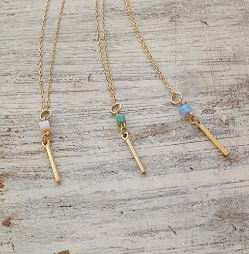- Gold Bar Blue Opal Cube Square Pendant Necklace