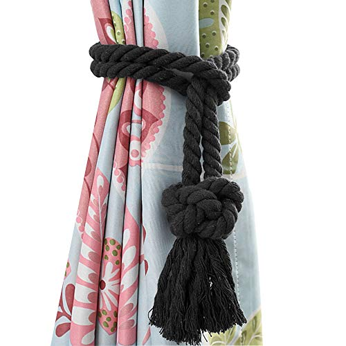 Melanovo 4 Pack Curtain Tiebacks, Handmade Natural Cotton Rope and Round Finial Drapery Tie Bakes, Decorative Holdbacks Holders for Window Sheer and Blackout Panels (Black Tassel)