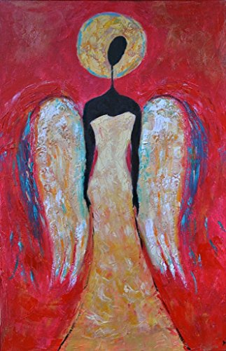 Angel Painting on CANVAS Red and White Black Gold Wings for Living Room Guardian Christmas Wall Art Original Oil Artwork 16x24 Bedroom Bathroom Salon by SmartPolonia