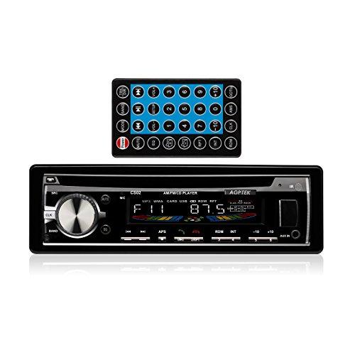 AGPTek CS02 Autoradio AM/FM/CD Receiver mit Bluetooth, Schwarz