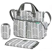Diaper Bag By Bambini & ME- Stylish Arrows, Functional Baby Stroller Organizer - Adjustable Stroller Strap - Eight Total Pockets - Easy to Clean - BONUS: Baby Changing Pad