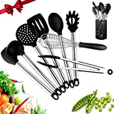 FLIER Silicone Cooking Utensils + Utensil Crock –9 Packs Silicone Kitchen Utensils - Heat-Resistant No-Stick Kitchen Utensil Sets – Silicone & Stainless Steel Kitchen Tools Gadgets