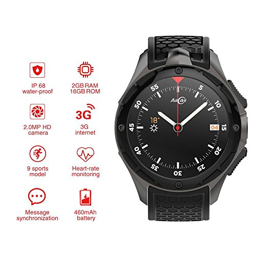 AllCall W2 Smartwatch(2018 Upgrated), IP68 Waterproof 3G Smartwatch Phone 2GB RAM 16GB ROM 2.0MP Camera GPS Sports Fitness Tracker 460mAh Battery WIFI Support - Outdoor 2 Gb Ram