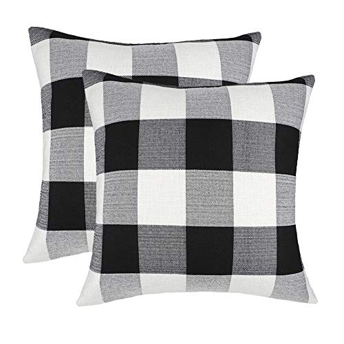 4TH Emotion Set of 2 Farmhouse Buffalo Check Plaid Throw Pillow Covers Cushion Case Cotton Linen for Fall Home Decor Black and White, 20 x 20 ()