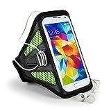 "For Sony Xperia (XZ, E5, XA) / Motorola (E3, G4 Play) / HTC One (S9, 10) / ZTE Blade (V7, Avid Plus, Pouch Sports Armband [GYM Bike Jogging Running Walking Hiking] Green Armband (12""-19"" Strap)"