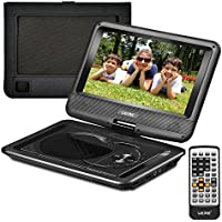 UEME 9 Portable DVD Player CD Player with Car Headrest Mount Holder, Swivel Screen Remote Control Rechargeable Battery AC Adapter Car Charger, Mini DVD Player PD-0091 (Black)