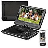 "UEME 9"" Portable DVD Player CD Player with Car Headrest Mount Holder, Swivel Screen Remote Control Rechargeable Battery AC Adapter Car Charger, Mini DVD Player PD-0091 (Black)"